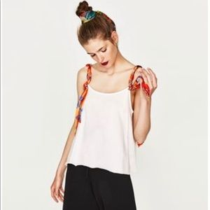 ZARA chain strappy white top